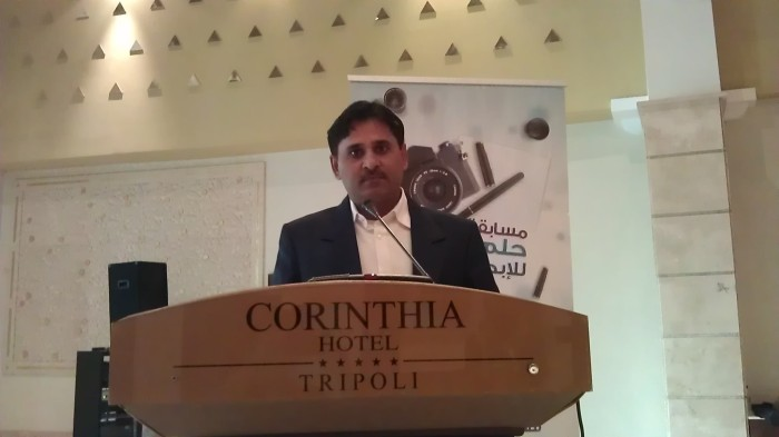 Mohammad Azeemullah during a conference at Corinthia Five Star Hotel in Tripoli